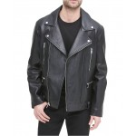 Mens Asymmetric Motorcycle Leather Jacket, Created for Macys