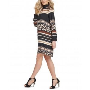 Mixed-Print Turtleneck Dress