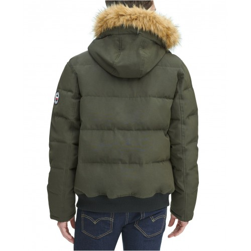 타미힐피거 Mens Short Parka Jacket with Faux Fur Hood