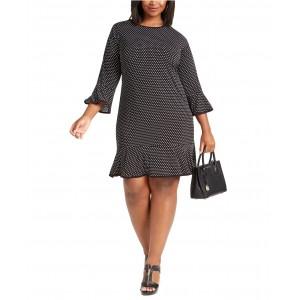 Plus Size Dot-Print Flounce-Hem Dress