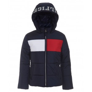 Baby Girls Colorblocked Hooded Cropped Puffer Jacket