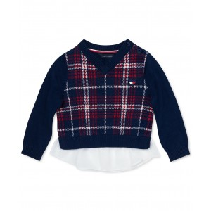 Baby Girls Layered-Look Plaid Cotton Sweater