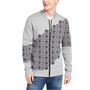 Mens Fair Isle Full-Zip Graphic Sweater