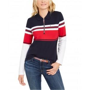 Striped Half-Zip Polo