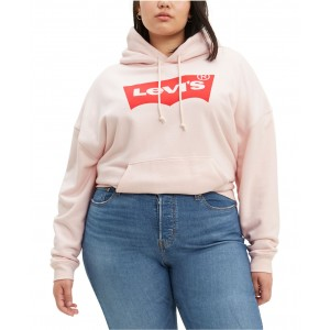 Trendy Plus Size Cotton Fleece Logo Hoodie
