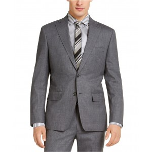 Mens Slim-Fit Stretch Light Gray/Blue Suit Jacket