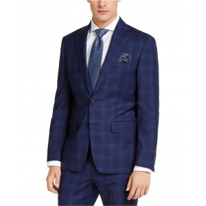 Mens Slim-Fit Stretch Blue Plaid Suit Jacket
