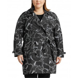 Plus-Size Print Trench Coat