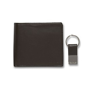 Leather Coin Pocket Bifold Wallet with Key Fob