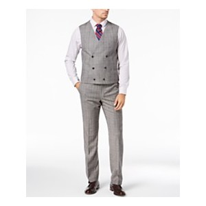 Mens Classic-Fit UltraFlex Stretch Black/White Windowpane Double-Breasted Suit Vest