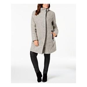 Plus Size Textured Faux-Leather-Trim Coat