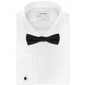 X Mens Extra-Slim Fit Formal White French Cuff Tuxedo Dress Shirt & Pre-Tied Solid Bow Tie Set