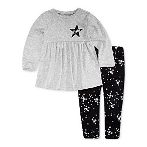 Baby Girls 2-Pc. Knit Peplum Top & Printed Leggings Set