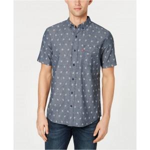 Mens Slim-Fit Leaf Print Pocket Shirt