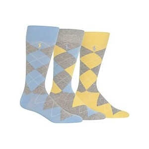 Ralph Lauren Mens Socks, Dress Argyle Crew 3 Pack Socks