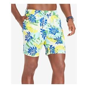 Mens Leigh TH Flex Stretch Quick-Dry Palm-Print 6-1/2 Swim Trunks