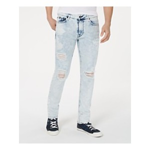 Mens Skinny-Fit Stretch Bleached Destroyed Jeans