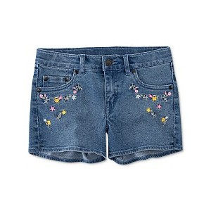 Toddler Girls Floral Embroidered Denim Shorts