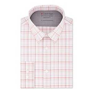 Mens Extra-Fit Stretch Performance Non-Iron Temperature-Regulating Check Dress Shirt