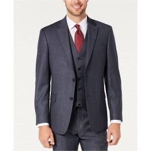 Mens Modern-Fit THFlex Stretch Blue Plaid Suit Separate Jacket
