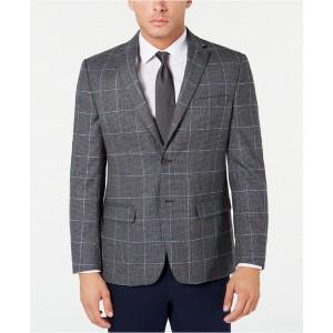 Mens Modern-Fit THFlex Stretch Grey Textured Windowpane Sport Coat