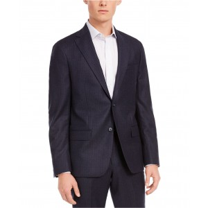 Mens Modern-Fit Stretch Navy Stripe Flannel Suit Separate Jacket