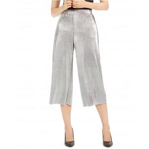 Pleated Metallic Cropped Pants, Regular & Petite