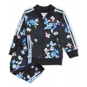 Baby Girls Floral-Print Tricot Jacket & Pants Set
