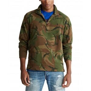 Mens Big & Tall Camo Quarter-Zip Pullover Sweater