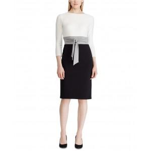Color-Blocked Tie-Front Dress