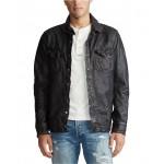 Mens Washed Leather Shirt Jacket