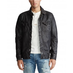 Mens Washed Leather Shirt Jacket