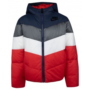 Toddler Boys Hooded Chevron Colorblocked Puffer Jacket