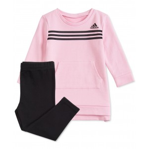 Baby Girls 2-Pc. Three-Stripe Dress & Leggings Set