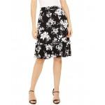 Tropical Shadow Floral Flounce Skirt