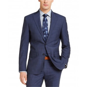 Mens Slim-Fit Stitch Navy Blue/Blue Stripe Suit Jacket