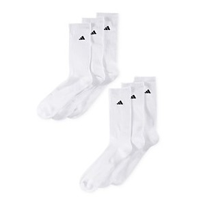 Mens Cushioned Crew Extended Size Socks, 6-Pack