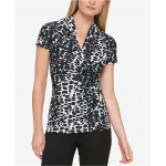 Petite Animal-Print Draped Surplice Blouse