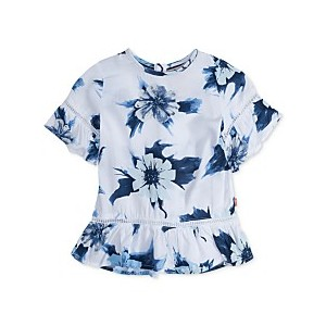 Floral-Print Peplum Top, Big Girls