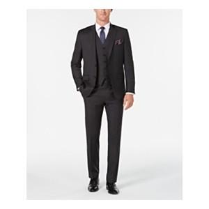 Mens Classic/Regular Fit UltraFlex Charcoal Stripe Vested Suit