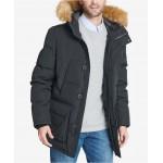 Mens Long Parka Jacket with Faux Fur Hood