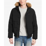Mens Big & Tall Short Parka Jacket with Faux Fur Hood