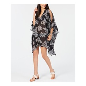 Printed Chiffon Cold-Shoulder Cover-Up