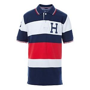 Big Boys Colorblocked Stripes Logo Polo