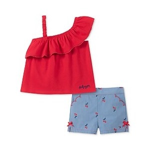 Baby Girls 2-Pc. One-Shoulder Top & Cherry-Print Shorts Set