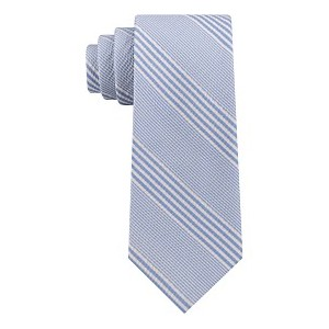 Mens Seersucker Stripe Silk Tie