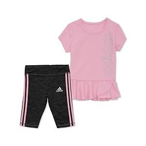Toddler Girls 2-Pc. Peplum Top & Striped Capri Tights Set