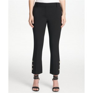 Button-Detail Skinny Ankle Pants