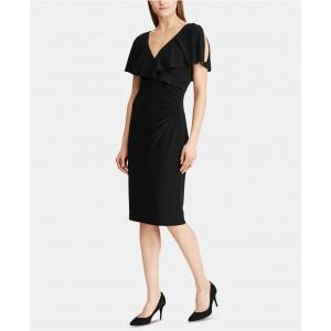 Rhinestone-Pin Ruffled Jersey Dress