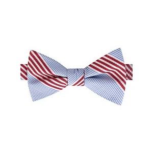 Mens Seersucker Stripe Pre-Tied Silk Bow Tie